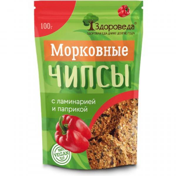 """Чипсы морковные с ламинарией и паприкой, """"Здороведа"""", 100 гр"""