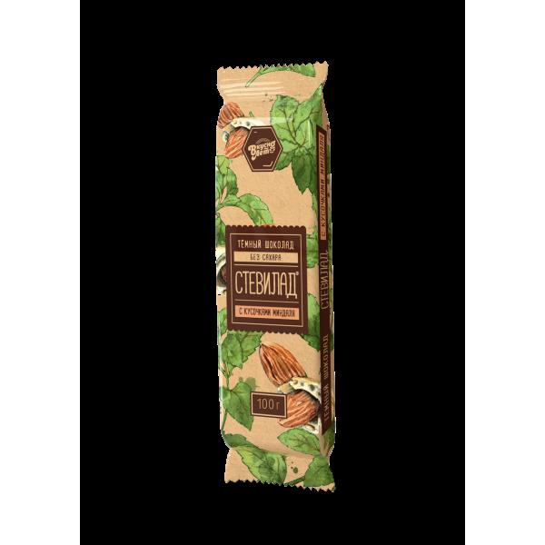 """Шоколад темный """"Стевилад"""" с миндалем, 50г."""
